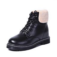 レディース 靴 フリース PUレザー ファー 冬 スノーブーツ ブーツ フラットヒール 編み上げ 用途 カジュアル ブラック ベージュ バーガンディー