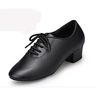 "billige Moderne sko-Herre Latin Lær Ytelse Sløyfe Lav hæl Svart Under 1 "" Kan spesialtilpasses"