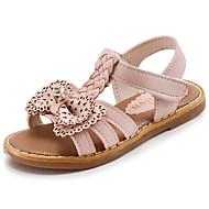 女の子 靴 レザーレット 夏 コンフォートシューズ サンダル のために カジュアル ブラック ベージュ ピンク