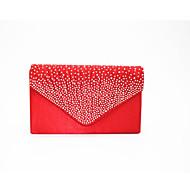 baratos Clutches & Bolsas de Noite-Mulheres Bolsas Seda Bolsa de Mão Ziper Branco / Preto / Vermelho