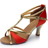 Žene Latinski plesovi Svila Umjetna koža Sandale Unutrašnji Potpetica po mjeri Zlato Crn Pink Braon Crvena Moguće personalizirati
