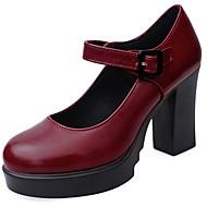 baratos Sapatos Femininos-Mulheres Sapatos Borracha Primavera / Verão Conforto Saltos Caminhada Ponta Redonda Presilha Preto / Vinho