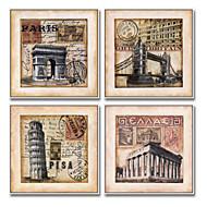 Arkitektur Tegneserie Frame Art Veggkunst,Stål Materiale med ramme For Hjem Dekor Rammekunst Stue