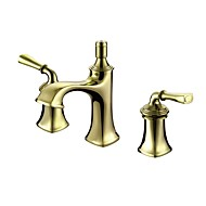 cheap Bathroom Sink Faucets-Luxury Classic Style Widespread High Quality Brass Valve Two Handles Three Holes Ti-PVD, Bathroom Sink Faucet