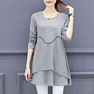 Feminino Camiseta Para Noite Casual Boho Moda de Rua Outono Inverno,Sólido Poliéster Decote Redondo Manga Longa Média