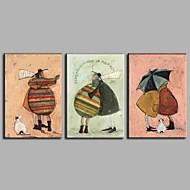 billiga Stilleben-HANDMÅLAD Stilleben Horisontell Panoramautsikt, Artistisk Yrke/Affär Modern Nyår Jul Duk Hang målad oljemålning Hem-dekoration Tre paneler