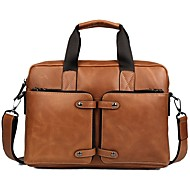 Men Bags Cowhide Briefcase Zipper for Casual Office & Career All Seasons Brown