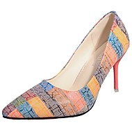 cheap Women's Heels-Women's Shoes PU Winter Fall Comfort Heels Stiletto Heel Pointed Toe for Casual Rainbow Light Blue