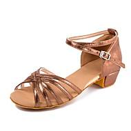 baratos Sapatilhas de Dança-Sapatos de Dança para Criança Pele Nobuck / Couro Envernizado Presilha Salto Baixo Personalizável Sapatos de Dança Café