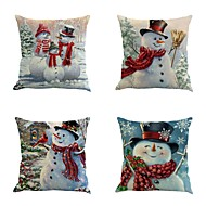 雪だるまソファクッションカバー4人のクリスマス雪だるま印刷枕カバーパーソナリティ枕ケースのセット