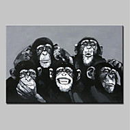 billiga Djurporträttmålningar-Hang målad oljemålning HANDMÅLAD - Djur Abstrakt Moderna Duk