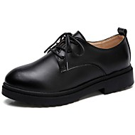 Kadın Ayakkabı Deri Bahar Sonbahar Rahat Oxford Modeli Düz Topuk Yuvarlak Uçlu Bağcıklı Uyumluluk Günlük Siyah Kahverengi