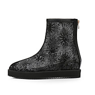 レディース 靴 ネット グリッター 秋 冬 アイデア ファッションブーツ ブーツ スパンコール ジッパー 用途 ドレスシューズ パーティー ブラック