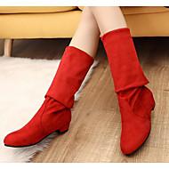 baratos Sapatos Femininos-Mulheres Sapatos Pele Napa Inverno Botas da Moda / botas de desleixo Botas Salto Robusto Botas Cano Alto Azul Escuro / Marron / Vermelho