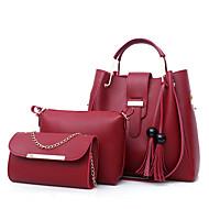 お買い得  バッグ-女性用 バッグ PU バッグセット 3個の財布セット ジッパー ピンク / グレー / Brown