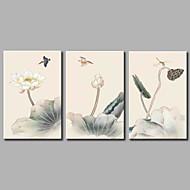 Pintados à mão Floral/Botânico Rústico 3 Painéis Tela Pintura a Óleo For Decoração para casa