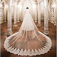ชั้นเดียว ผ้าคลุมหน้าชุดแต่งงาน ผ้าคลุมหน้าในโบสถ์ กับ เข็มกลัด ลูกไม้ / Tulle / Angel cut / Waterfall
