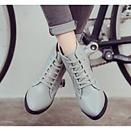 Women's Shoes Cowhide Nappa Leather Fall Winter Fashion Boots Combat Boots Boots Chunky Heel Booties/Ankle Boots For Casual Gray Black