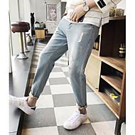 Herre Afslappet Mikroelastisk Skinny Løstsiddende Jeans Bukser, Alm. taljede Ensfarvet Efterår