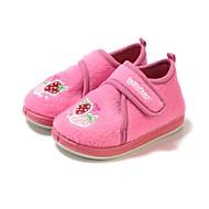 tanie Obuwie dziewczęce-Dla dziewczynek Buty Polar Zima Buty do nauki chodzenia Comfort Mokasyny i pantofle Haft nakładany Tasiemka na Casual Różowy