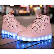 Para Meninas sapatos Couro Ecológico Outono Inverno Conforto Tênis Para Casual Preto Vermelho Rosa claro