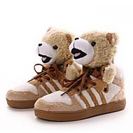 baratos Sapatos de Tamanho Pequeno-Mulheres Sapatos Flanelado Outono / Inverno Forro de fluff Tênis Branco / Preto / Khaki