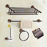 cheap Bathroom Products-Bathroom Accessory Set High Quality Modern Style Brass 5pcs - Hotel bath Toilet Brush Holder tower ring tower bar Toilet Paper Holders