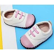 Bebê sapatos Pele Real Outono Inverno Conforto Primeiros Passos Rasos Para Casual Branco/Preto Rosa Claro Vinho