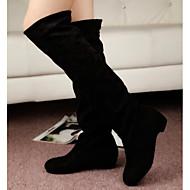 Damer Sko Nubuck Læder Vinter Fluff Foder daske støvler Støvler Kraftige Hæle Lår-høje støvler for Afslappet Sort Brun Blå