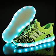 baratos Sapatos de Menino-Para Meninos Sapatos Tricô Primavera Tênis com LED Tênis LED para Preto / Azul / Verde Claro