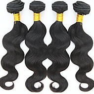 Human Hair Brazilian Natural Color Hair Weaves Body Wave Hair Extensions 4 Pieces Black