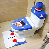 halpa -3pcs / set joulu kylpyhuone sisustus sininen lumiukko wc istuimen kansi kylpyhuone koristeet lahja