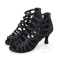 baratos Sapatilhas de Dança-Mulheres Sapatos de Salsa Honeycomb Salto Gliter com Brilho Salto Alto Sapatos de Dança Dourado / Preto / Interior