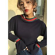 Feminino Padrão Pulôver,Esportes Casual Simples Activo Sólido Estampa Colorida Decote Redondo Manga Longa Algodão Todas as Estações Média