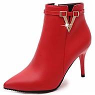 abordables -Femme Chaussures Polyuréthane Automne boîtes de Combat Bottes Bout pointu Fermeture Pour Décontracté Noir Gris Rouge