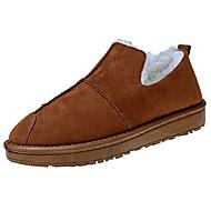 Feminino Sapatos Couro Ecológico Outono Conforto Chinelos e flip-flops Rasteiro Ponta Redonda Para Casual Preto Amarelo Verde Tropa