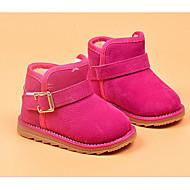 baratos Sapatos de Menina-Para Meninas Sapatos Camurça Inverno Botas de Neve / Forro de fluff Botas para Preto / Pêssego / Marron