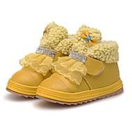 お買い得  フラワーガールシューズ-女の子 靴 レザー 冬 フラワーガールシューズ ブーティー 赤ちゃん用靴 コンフォートシューズ ブーツ ラインストーン スパークリンググリッター ポンポン 面ファスナー のために パーティー ドレスシューズ イエロー ピーチ