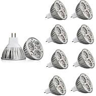 billige Spotlys med LED-10pcs 3W 250lm MR16 LED-spotpærer 3 LED perler Høyeffekts-LED Dekorativ Varm hvit / Kjølig hvit 12V / RoHs