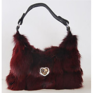 Women Bags Fur Tote Zipper for Casual Winter Fall White Purple Wine