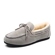 ieftine Pantofi Barcă de Damă-Damă Pantofi PU Iarnă Mocasini Tălpi cu Lumini Fur de căptușeală Încălțăminte de Barcă Vârf rotund Dantelă Pentru Casual Negru Gri Maro