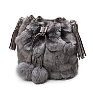 Women Bags Fur Shoulder Bag Zipper for Casual Outdoor All Seasons Black Gray Brown