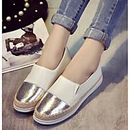 Feminino Sapatos Couro Ecológico Primavera Outono Conforto Mocassins e Slip-Ons Para Casual Preto Prata