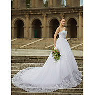 cheap Ball Gown Wedding Dresses-Ball Gown Strapless Cathedral Train Satin Tulle Beaded Lace Custom Wedding Dresses with Beading Appliques by LAN TING BRIDE®