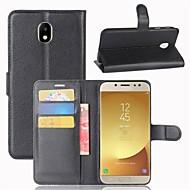 halpa -Etui Käyttötarkoitus Samsung Galaxy J7 (2017) J3 (2017) Lomapkko Korttikotelo Flip Kokonaan peittävä Yhtenäinen väri Kova PU-nahka varten