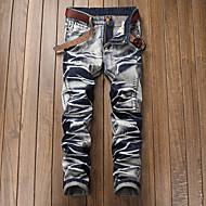 Masculino Simples Cintura Média Micro-Elástica Jeans Chinos Calças,Jeans Chinos Sólido,rasgado