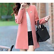 Per donna Per uscire Autunno / Inverno Standard Cappotto, Tinta unita Rotonda Manica lunga Poliestere Rosa / Giallo / Fucsia XL / XXL / XXXL