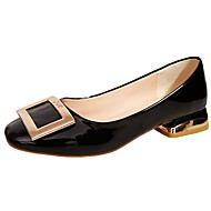 Women's Shoes PU Spring Fall Comfort Flats Square Toe For Casual Office & Career Blushing Pink Black