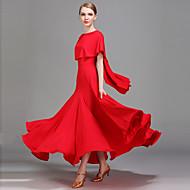 お買い得  ミュージック&ダンス-ボールルームダンス ドレス 女性用 性能 アイスシルク ラッフル ナチュラルウエスト ドレス