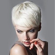 Kvinder Human Hair Capless Parykker Svart Medium Rødbrun Hvit Strawberry Blonde / Bleik Blond Kort Rett Side del